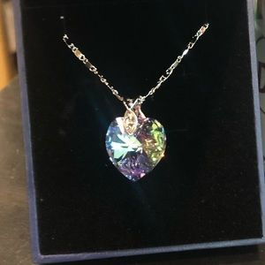 Jewelry - Lovely Heart Crystal Pendant Purple Blue Necklace